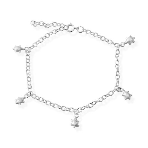Rhodium Overlay Sterling Silver Turtle Charm Bracelet (Size 7.5 With 1 inch Extender), Silver wt 3.29 Gms.