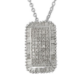 1 Ct Diamond Cluster Pendant with Chain in Platinum Plated Sterling Silver 18 Inch