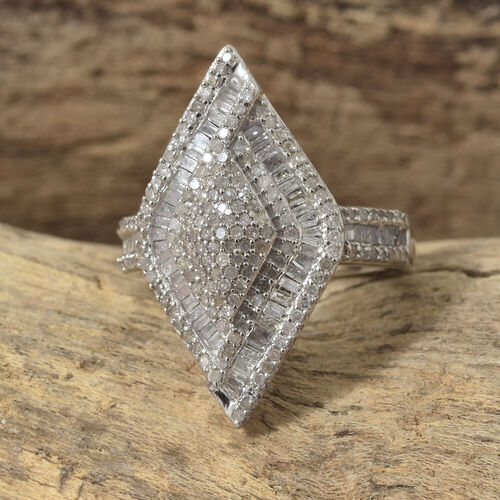 1.01 Ct Diamond Rhombus Cluster Ring in Platinum Plated Sterling Silver 5.59 Grams
