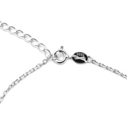 ELANZA Simulated Diamond (Rnd) Adjustable Bracelet (Size 7 with 1 inch Extender) in Rhodium Overlay Sterling Silver