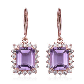 Rose De France Amethyst (Oct 8.10 Ct), Natural White Cambodian Zircon Lever Back Earrings in Rose Go