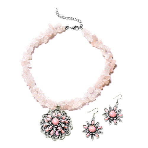 2 Piece Set - Rose Quartz, Pink Howlite Hook Earrings and Necklace (Size 18 with 2.5 Inch Extender)