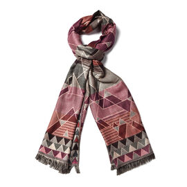 Art Pattern Scarf with Silver Wire (Size 65x190 Cm) - Slate Grey and Multi