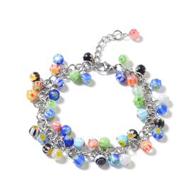 Multi Colour Murano Style Glass Bracelet (Size 7) in Stainless Steel