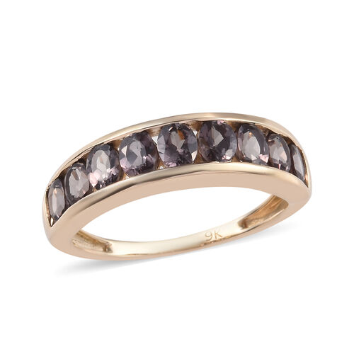 2 Carat Colour Change Garnet Half Eternity Band Ring in 9K Yellow Gold