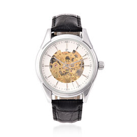 GENOA Automatic Mechanical Movement White Dial Water Resistant Skeleton Watch with Black Leather Str