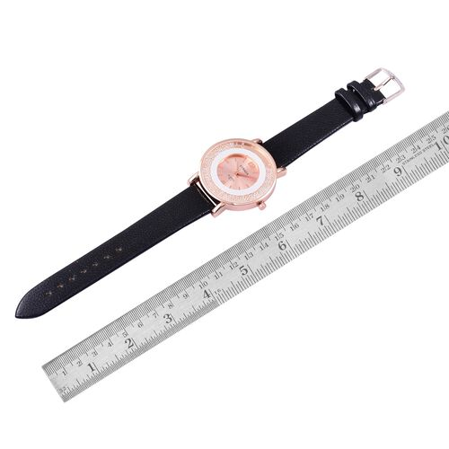 STRADA Japanese Movement Sunshine Dial with White Austrian Crystal Watch in Rose Gold Tone with Black Colour Strap