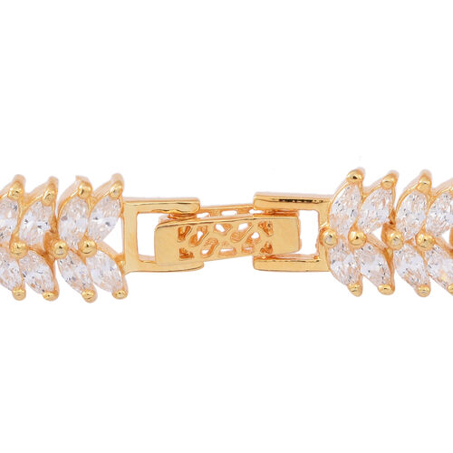 ELANZA Simulated White Diamond (Mrq) Double Strand Bracelet (Size 7.5) in 14K Gold Overlay Sterling Silver, Silver Wt 17.00 Gms
