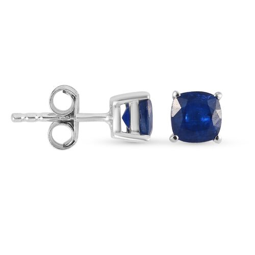 Tanzanian Blue Spinel Earrings (with Push Back) in Platinum Overlay Sterling Silver 1.41 Ct.