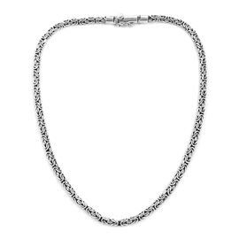 Royal Bali Collection Sterling Silver Byzantine Necklace (Size 20), Silver wt 50.00 Gms.