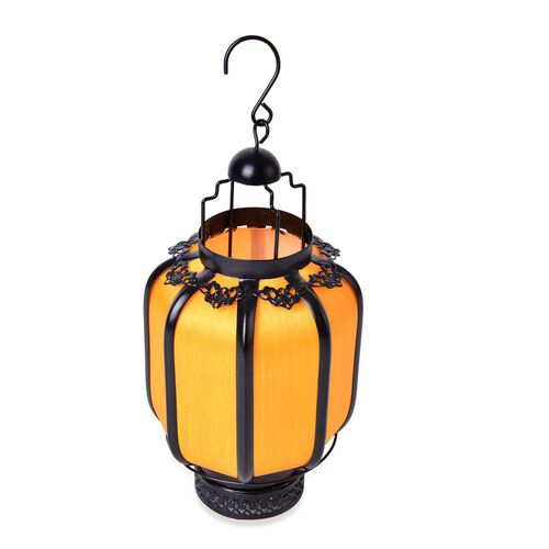 Yellow and Black Colour Hexagonal Shape Hanging Lantern (Size 25X16 Cm)