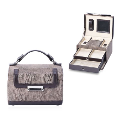 3-Layer Snake Skin Pattern Jewellery Box with a Small Travelling Case, Inside Mirror, Two Pulled-out