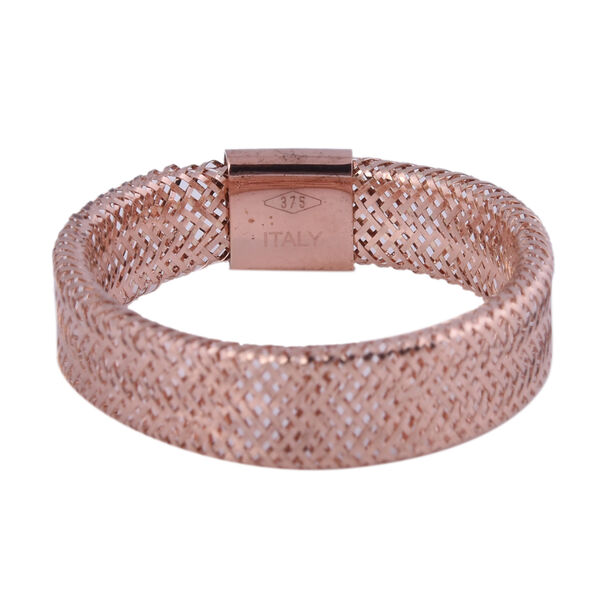 Italian Made - 9k Rose Gold Stretchable Ring (Size Large) (Size P to Z)