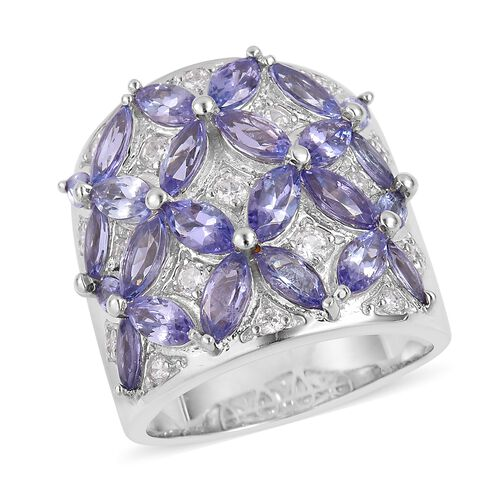 Tanzanite (Mrq), Natural White Cambodian Zircon Flower Ring in Rhodium Plated Sterling Silver 5.540