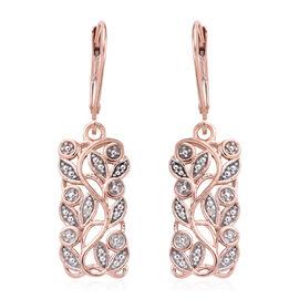 Diamond Leaves Drop Earrings in Rose Gold Sterling Silver