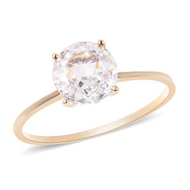 One Time Deal- 9K Yellow Gold AAAA Radiant Cut Cubic Zirconia (Rnd 8mm) Solitaire Ring Eq Ct Wt 2.00