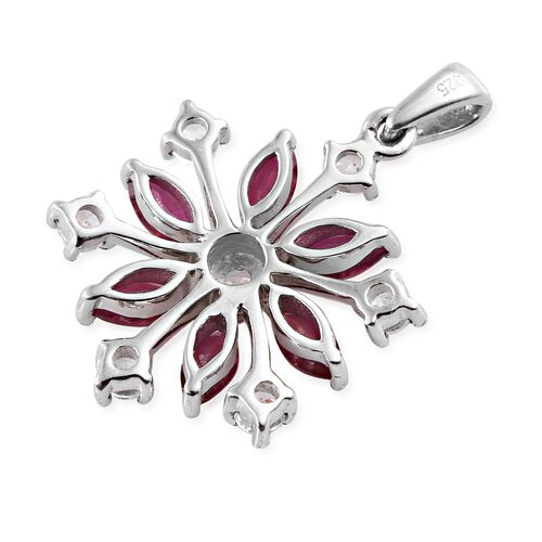 AA African Ruby (Mrq), Natural Cambodian Zircon Snowflake Pendant in Platinum Overlay Sterling Silver 1.750 Ct.