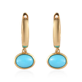 Arizona Sleeping Beauty Turquoise (Ovl) Hoop Earrings (with Clasp) in 14K Gold Overlay Sterling Silv