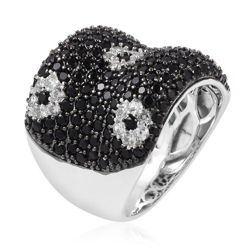 Boi Ploi Black Spinel (Rnd), Simulated Diamond Ring in Rhodium and Black Plating Sterling Silver 6.090 Ct, Silver wt 6.55 Gms, Number of Gemstone 199