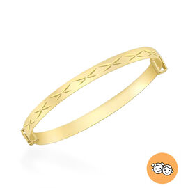 Diamond Cut Expandable Kids Bangle in 9K Gold Size 5 Inch