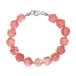 Strawberry Quartz Bracelet (Size 7.5) in Rhodium Overlay Sterling Silver 58.500 Ct.