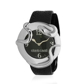 ROBERTO CAVALLI- Snake Watch with Genuine Leather Strap