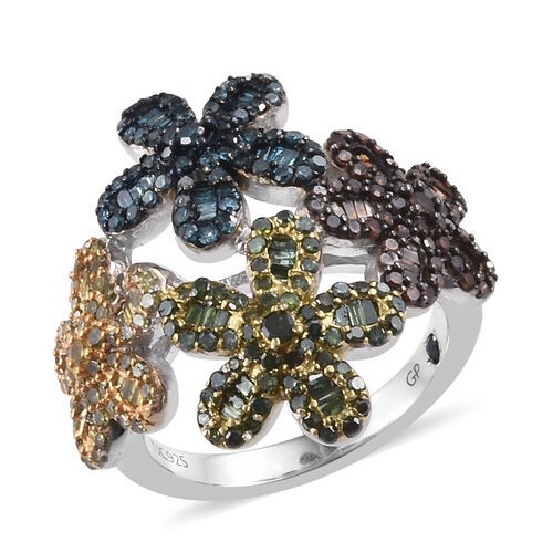 GP 1.52 Ct Multi Colour Diamond and Kanchanaburi Blue Sapphire Floral Ring in Platinum Plated Silver