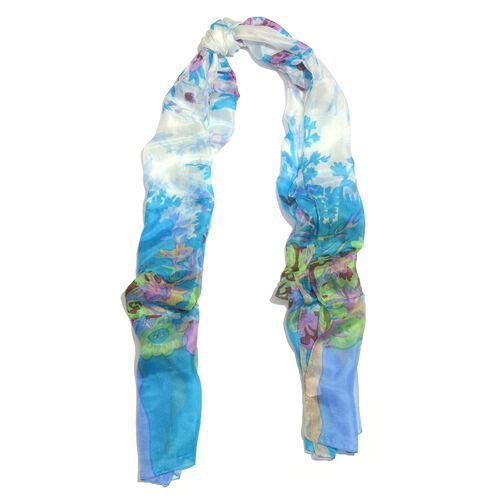 100% Mulberry Silk Blue, Green and Multi Colour Floral Hand Screen Printed Scarf (Size 180X50 Cm)