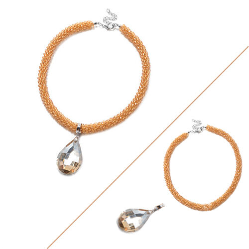 2 Piece Set  - Simulated Champagne Diamond and Champagne Bead Necklace (Size 20) with Detachable Pen