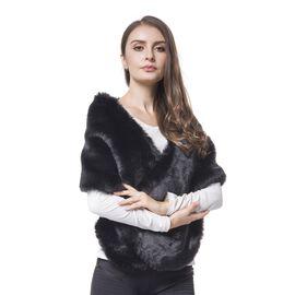 Designer Inspired - Black Faux Fur Wrap (Size 135X30 Cm)