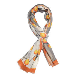100% Modal Orange Leaf and Twig Digital Printed Scarf Size 200x70 Cm