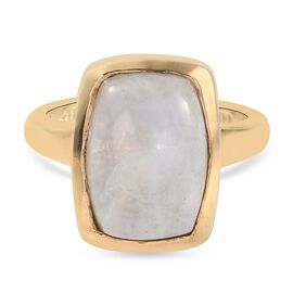 Rainbow Moonstone Solitaire Ring in 14K Gold Overlay Sterling Silver 5.00 ct,  Sliver Wt. 5 Gms  5.0