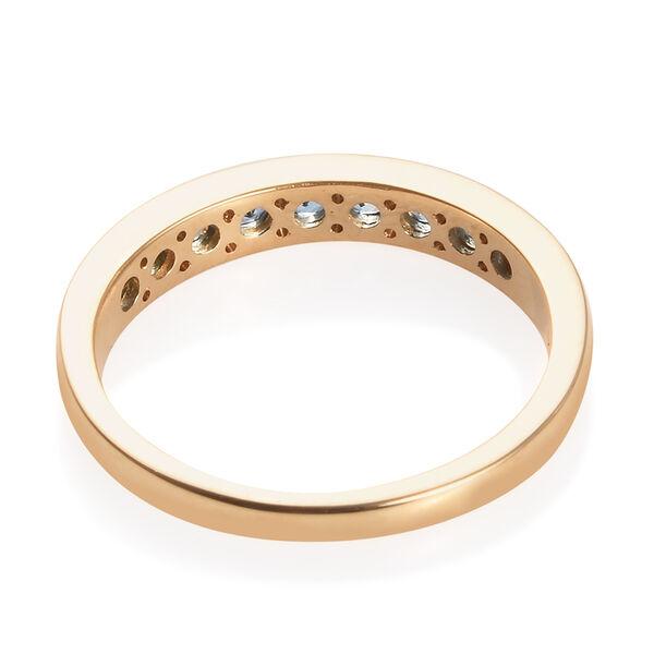 ILIANA 18K Yellow Gold AAA Santa Maria Aquamarine (Rnd) Half Eternity Band Ring 0.66 Ct.