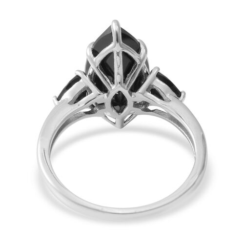 Boi Ploi Black Spinel (Mrq 18x9 mm) Ring in Rhodium Overlay Sterling Silver 9.040 Ct.