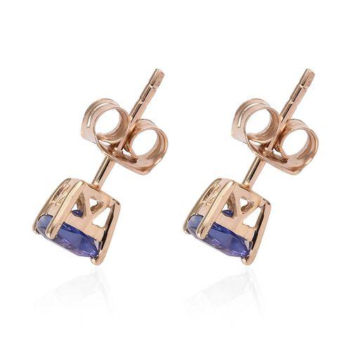 9K Yellow Gold AA Tanzanite (Trl) Stud Earrings (With Push Back) 1.000 Ct.
