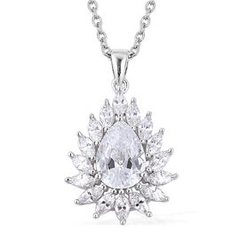 Simulated Diamond Halo Pendant With Chain in Silver Tone Size 20 Inch