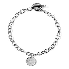 Personalise Engravable Single Disc Charm Bracelet, in Stainless Steel 8.5inches