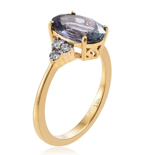 ILIANA 18K Yellow Gold AAA Peacock Tanzanite (Ovl 2.90 Ct), Diamond (SI G-H) Ring 3.100 Ct.