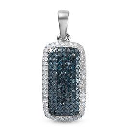 White Diamond & Blue Diamond Cluster Pendant in Platinum Overlay Sterling Silver 0.99 Ct.