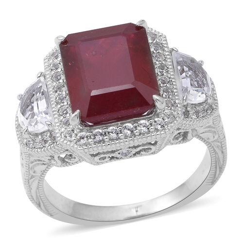 Very Rare Size -African Ruby (Oct 9.15 Ct), White Topaz Ring in Rhodium Plated Sterling Silver 11.50
