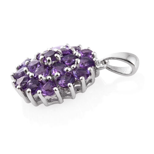 Amethyst 2.25 Ct Heart Floral and Cluster Silver Pendant in Platinum Overlay
