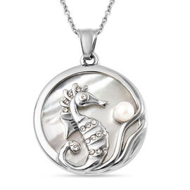 White Mother Of Pearl, White Austrian Crystal and White Shell Seahorse Pendant with Chain (Size 20)