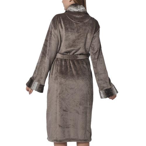 Mocha Colour Plush Long Robe with Faux Fur Collar (64x115cm)