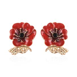 Poppy Design Red and Black Enamelled Poppy Flower Earrings in Gold Tone