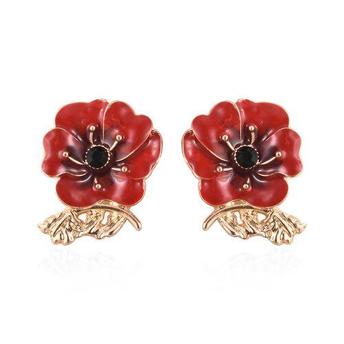 Poppy Design Red and Black Enamelled Poppy Flower Earrings in Gold Tone