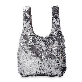 Black and Silver Sequin Shopping Bag with Magnetic Closure (Size 40x33.5 Cm)