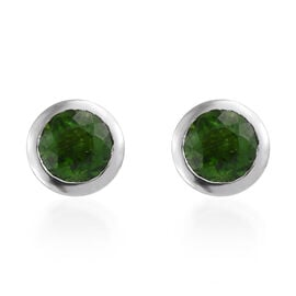 Russian Diopside (Rnd) Stud Earrings (with Push Back) in Platinum Overlay Sterling Silver 1.000 Ct.