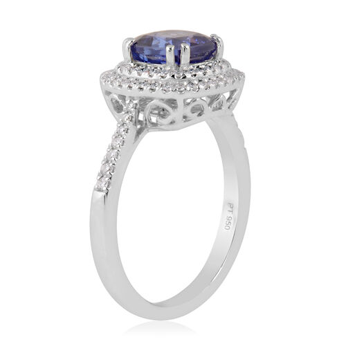 RHAPSODY 950 Platinum AAAA Tanzanite and Diamond (VS/E-F) Ring 2.46 Ct, Platinum wt 6.06 Gms
