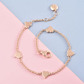 RACHEL GALLEY Heart Collection - Rose Gold Overlay Sterling Silver Heart Station Adjustable Bracelet (Size 8)