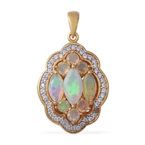Ethiopian Welo Opal (Mrq 12x6 mm), Natural Cambodian White Zircon Cluster Pendant in Yellow Gold Ove